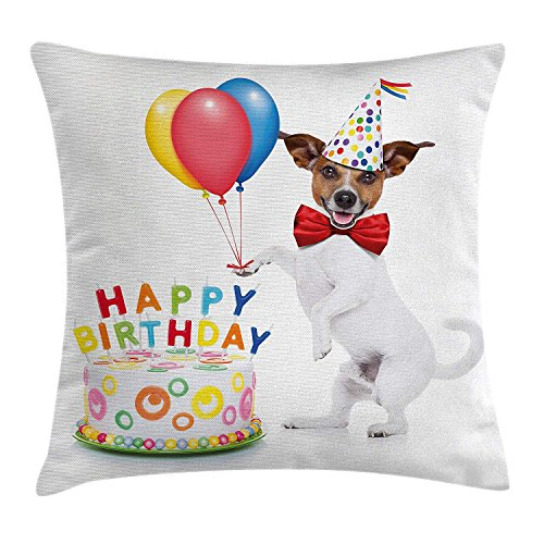 for Kids Throw Pillow Cushion Cover, Dancing Party Dog with Cake and Colorful Balloons Art Print, Decorative Square Accent Pillow Case, 18 X 18 inches, Multicolor ()