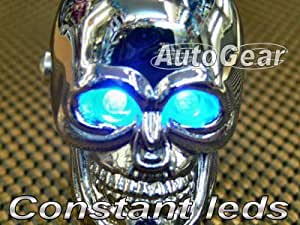 TERMINATOR CHROME SKULL UNIVERSAL CAR GEAR KNOB WITH BLUE LED EYES