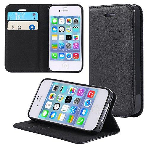 ECENCE 21030101 Apple iPhone 4 4S handy tasche flip case klapp schutz hülle cover schwarz inklusive Displayschutzfolie Schwarz I