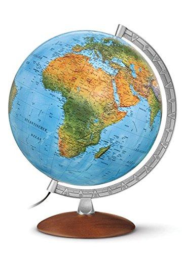 DFN 3010: Handkaschierter Leuchtglobus 30 cm Durchm., Doppelbild, silberfarbener Metallmeridian, dunkler Holzfuß (Klassischer Globus)
