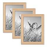 PHOTOLINI 3er Set Landhaus-Bilderrahmen 13x18 cm Holz Natur Massivholz mit Glasscheibe und Zubehör/zum Stellen oder Hängen/Fotorahmen