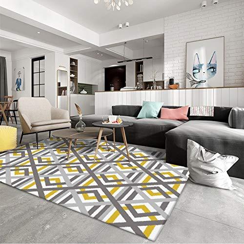 Alfombras geométricas Amarillas Grises del Piso Área de la Sala de Estar Alfombras Sofá Mesa de Centro Dormitorio Decoración de la cabecera de la Cama Felpudo, 100 × 160 CM