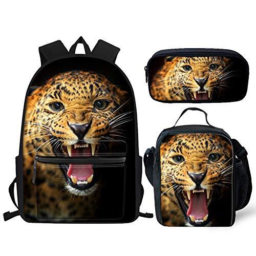 Hugs Idea Rucksack-Set, leicht, für Teenager, Jungen, Mädchen, Büchertasche für Mittelelementar, Schule Lunchbox, Federmäppchen Braun Tiger Pattern Einheitsgröße -