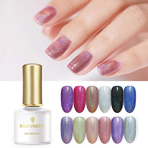 BORN PRETTY Holographic Gel Polish Shimmer Shining Glitter Laser Soak Off Nail Art Gel Varnish Kit Manicure 12 Colors Set