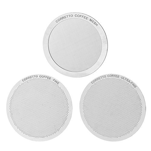 Fine Mesh (3 Pro Stainless Steel Filters for AeroPress by Corretto Coffee - FINE, ULTRA-FINE & MESH + Lifetime Guarantee + Brewing Guide - Reusable, Permanent, Paperless Metal Filter Set by Corretto)