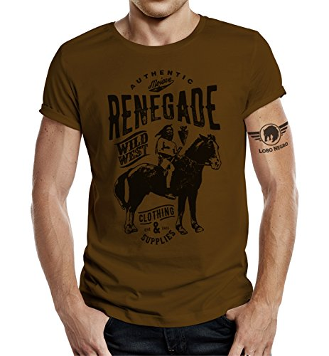 Original LOBO NEGRO® Design T-Shirt für den Western Fan: Mojawe-Renegade Braun