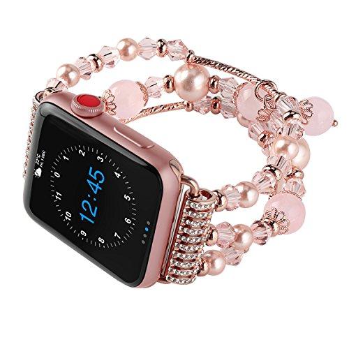 ONSON Apple Watch Band, 42mm Mode Handmade Elastic Stretch Faux Perlenarmband Ersatzarmband für Apple Watch Series 1 Series 2 Series 3(Rosa,42mm)