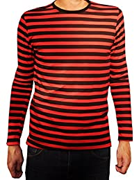 Mens Red and Black Long Sleeve T-shirt Mod Tees