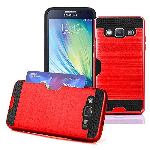 Samsung Galaxy S3–Dual Layer Slim Armour Hybrid Hard Cover Hülle mit Kredit Karte Halter + Gratis Displayschutzfolie, plastik, Rot - Rot, Einheitsgröße (Slim-layer-karte)