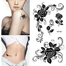 Born Pretty 1 Planche Autocollant Tatouage Imperméable Temporaire en Motif de Fleur Rose Blanc et Noir Frais Art corporel