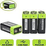 SOEKAVIA 9 V Prismatic Batteria ricaricabile ai polimeri di litio ricaricabile con USB cavo micro USB integrato (Nero + Verde)
