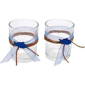Zauberdeko 2x Teelichtglas Kommunion Konfirmation Tischdeko Blau