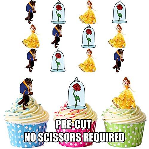 Disney Beauty und Beast Belle-Mix-essbare Cupcake Toppers/Kuchen-Dekorationen (12Stück) ()