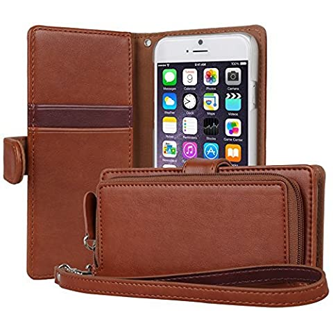 iPhone 6S Case, TORU [iPhone 6S Zipper Wallet Case] Card Slot Holder Magnetic Flip Cover with Zipper Pocket and Wrist Strap for iPhone 6S / iPhone 6 - Brown