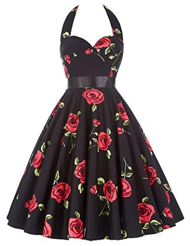 1950 de Las Mujeres del Patrón Retro del Vestido de Rockabilly Vestido Floral Oscilación del Patinador de Vestir