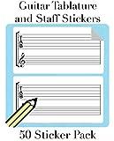 Tab & pentagramas música - Adhesivo de pegatinas para guitarra (50 por pack) notate Tablatura Cualquier Parte. Ideal para profesores