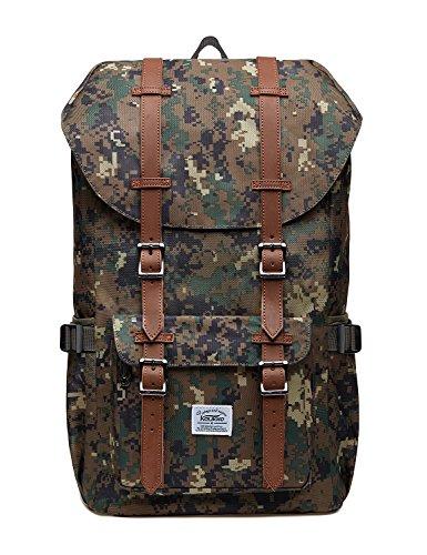 Sac à Dos Pour Ordinateur Portable Décontractée Unisexe Sac Extérieur Pour Voyager / Randonnée / Camping Par KAUKKO (Nylon Camouflage Vert)