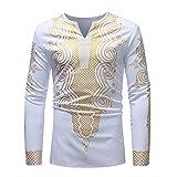 Hemd Herren Gold Gedruckt T-Shirt Langarm Ethnischen Stil Casual Bluse Herbst Winter Golden Mysterious Pattern Dashiki Tops,Weiß 5,XXXL