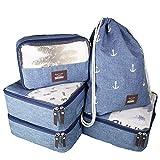 Seeherz Packing-Cubes | leichtes 5-teiliges Kleidertaschen Set für Deine nächste Reise | Packwürfel für Ordnung im Gepäck mit Gymbag