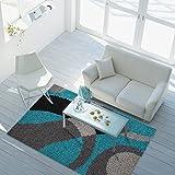 carpet city Teppich Shaggy-Design Hochflor Langflor mit Patchwork-Muster für Wohnzimmer/Schlafzimmer in Türkis/Grau, Größe: 60 x 110 cm