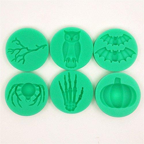 Silikon Wahl von Zweig Owl Bat Spinnen Skelett Hand Kürbis Fondant Kuchen Form Schokoladen Form ()