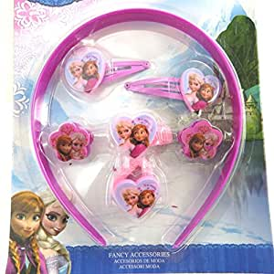 Reine des Neiges [M3044] - Set accessoires cheveux 'Frozen - Reine des Neiges' violet/rose (7 pièces)