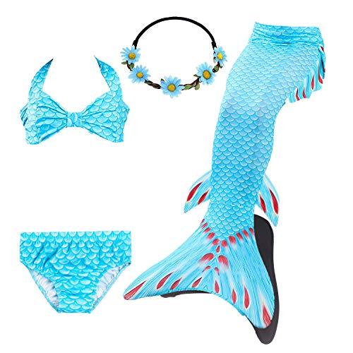 COZY HUT Mädchen Cosplay Kostüm Badebekleidung Meerjungfrau Schwanz Badeanzug 5pcs Bikini Sets (3-12Year)