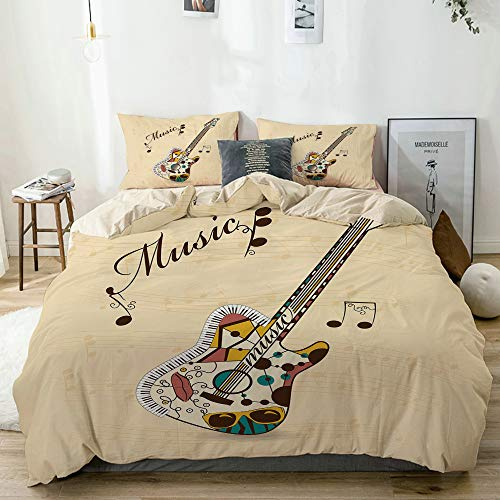 PANILUR beige Bettwäsche Set,Abstrakte flippige Gitarren Instrument Melodien musikalische Anmerkungen und Handschrift,1 Bettbezug 240x260cm+2 Kopfkissenbezug 80x80cm -