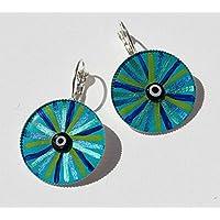 EYE OF HILARION Ohrringe 7-128 Auge Glücksbringer Damen Ohrschmuck Meeresfarben blau türkis grün handbemalt leuchtend Glücksschmuck orientalisch mediterran