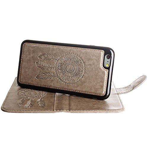 CellularOutfitter iPhone 6 Plus/6s Plus Leather Wallet Case Dream Catcher Embossed - Includes Detachable Matching Case and Wristlet - Lavender Gray