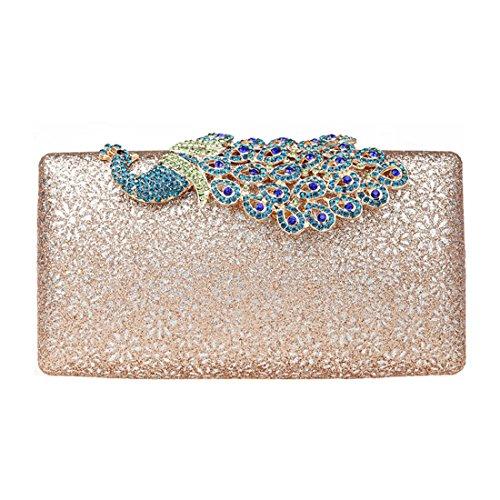 KAXIDY Damen Handtasche Clutch Glänzende Pfau-Kristall Buckle Damentasche Tasche Abend Handtasche Abendtasche (Champagner) (Buckle Abendtasche Clutch)