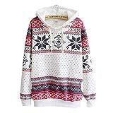 VECDY Damen Pullover,Räumungsverkauf- Herbst Damen WeihnachtsHoodie Sweatshirt Jumper Sweater Kapuzenpulli Trendy Print Top Mode Sport Pullover Warme Jacke(Weiß,40)