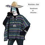 Kostüm Set Poncho und Sombrero, Mexikaner, Einheitsgröße