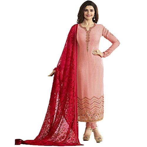 Women's Straight Latest Pink Churidar Long Sleeve Salwar Suit Dress Material(Pink_ Free...