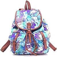 Da donna Da Donna In Tela Zaino Scuola Borsa quotidiana Zaini, escursionismo Butterfly Blue