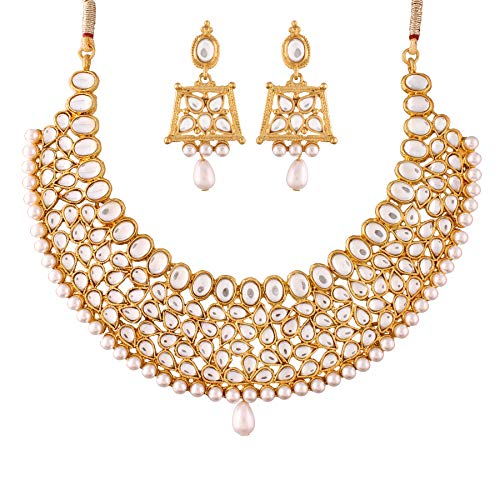 I Jewels Traditional Kundan & Pearl Necklace Set for Women (K7059W)