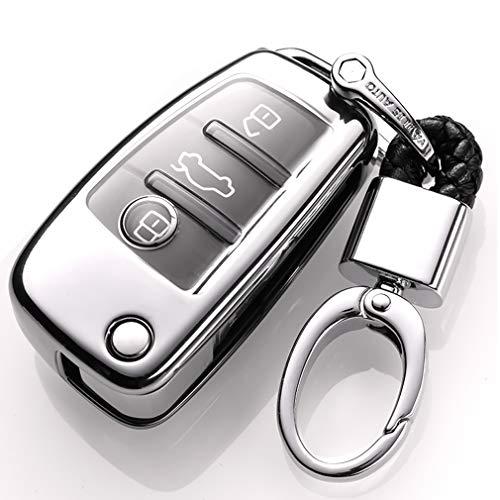 Car Keyless Entry Key Cover Fall für Audi A1 A3 A4 A6 A8 Q3 Q5 Q7 S3 S6 R8 TT 3 Buttons, weiches TPU Schutzhülle vollständige Abdeckung mit Schlüssel Kette (Silber)