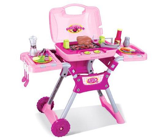 Inside Out Toys Spielzeug-Grill-Set für Kinder mit Geräuschen und Licht - BBQ-Zubehör - Rosa