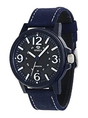 Reloj Marea Caballero, correa de loneta, Esfera Azul con numeros en blanco, Cristal mineral, Tamaño, 44 mm grueso 9 mm. Garantia 2 Años.