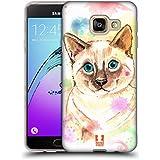 Head Case Designs Chat Aquarelle D'animaux Étui Coque en Gel molle pour Samsung Galaxy A3 (2016)