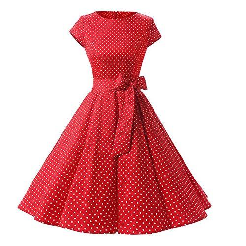 Women New 50S Retro Vintage Dress Polka Dots Short Sleeve Summer Dress Rockabilly Swing Party Dress Red XXL -