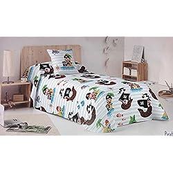 Conjunto de sábanas de piratas para cama de 90 cm.