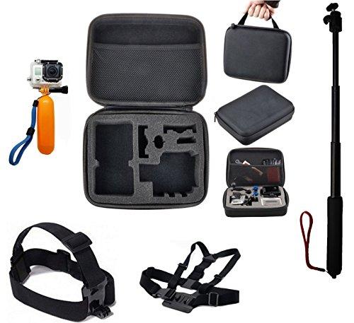 TecTecTec Kit d'accessoires pour caméras d'action: Housse de rangement L, Monopode/Selfie/Perche téléscopique, Harnais pectoral, Flotteur, Harnais frontal (L)
