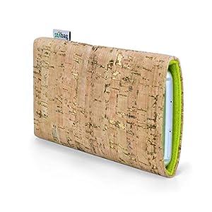 Stilbag maßgeschneiderte Korkhülle VIGO   Farbe: natur-gold-apfelgrün   Smartphone-Tasche aus Kork   Handy Schutzhülle   Handytasche Made in Germany