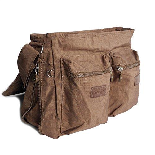 Bag Street borsa a tracolla borsa a tracolla per le vacanze Sport ricreativo e scuola in nylon resistente plastica in formato DIN A4–presenta da ZMOKA® in diversi stili Colori, marrone (marrone) - 0 marrone