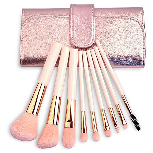 mooxury Juego de brochas de maquillaje profesional Synthetic Kabuki maquillaje brochas kit con bolsa de plegable–6pcs