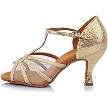 YKXLM Mujeres&Niña Zapatos Latinos de Baile Zapatillas de Baile de Salón Salsa Performance Calzado de Danza,Modelo ESAF449
