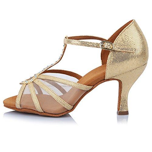 YKXLM Donna & Bambine Raso Scarpe da Ballo Latino/Standard Ballroom Sala da Ballo Scarpe,Modello-ITAF449 Oro