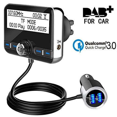 DAB / DAB + Radio Adapter FM Sender DAB In-Car Digital Radio Empfänger für Bluetooth FM Transmitter Freisprecheinrichtung Car Kit Wireless Digital Radio Broadcast QC3.0 Dual USB Car Charger