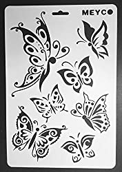 CraftDev A4 Size Stencils for DIY Scrapbooking, Painting Stencils, Drawing Stencil, Reusable Stencil SET OF 6 (Designs As Per Availability)